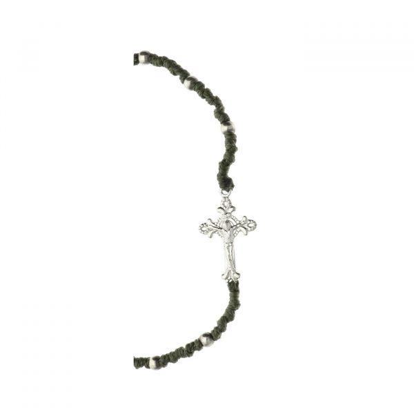 Bracciale rosario con croce in argento e nodini Spadarella