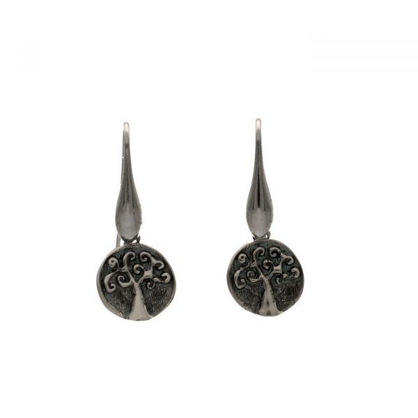Orecchini in argento ad anellina con ciondolo albero della vita Spadarella