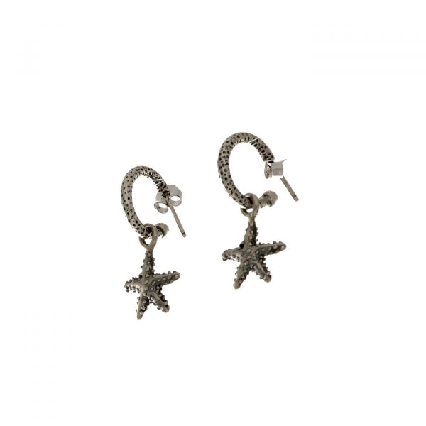 Orecchini in argento ad anellina con ciondolo a forma di stella marina Spadarella