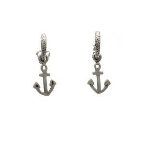 Orecchini in argento ad anellina con ciondolo a forma di àncora Spadarella