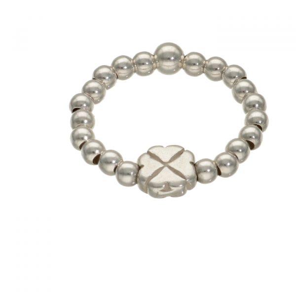 Anello elastico con palline e quadrifoglio in argento Spadarella