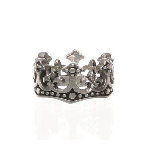 Anello lavorato in argento a forma di corona Spadarella