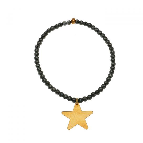 Bracciale elastico con Ematite e stella in argento Spadarella