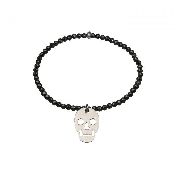 Bracciale elastico con Ematite scura e teschio in argento Spadarella