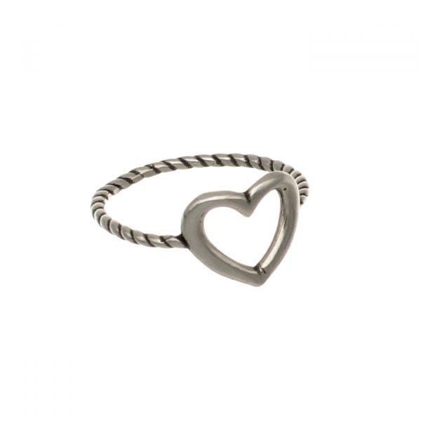 Fedina in argento lavorato con cuore centrale Spadarella