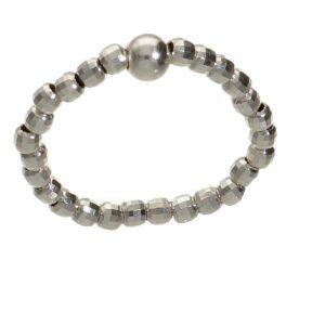 Anello elastico con palline sfacettate in argento Spadarella