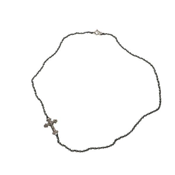 Rosario in Ematite con croce in argento Spadarella