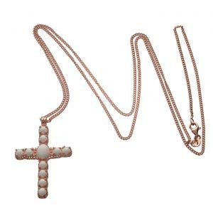 Collana in argento rosato unisex e croce Spadarella