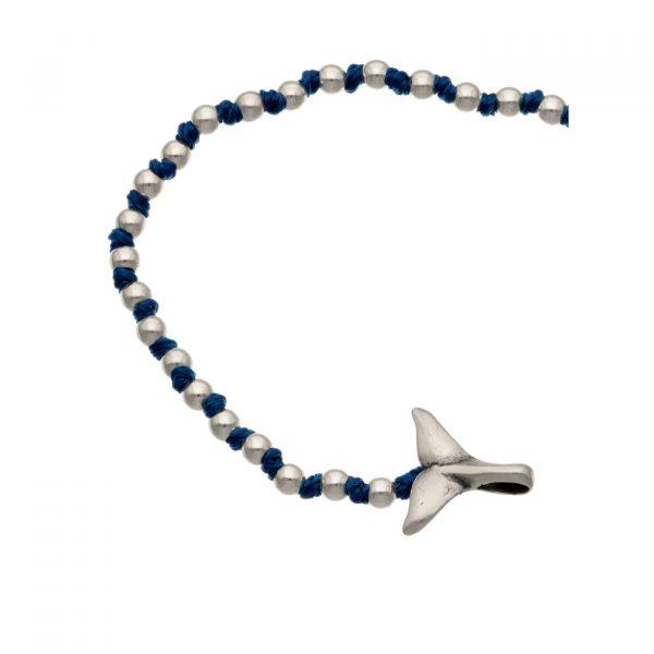 Bracciale coda di balena in argento e nodini Spadarella