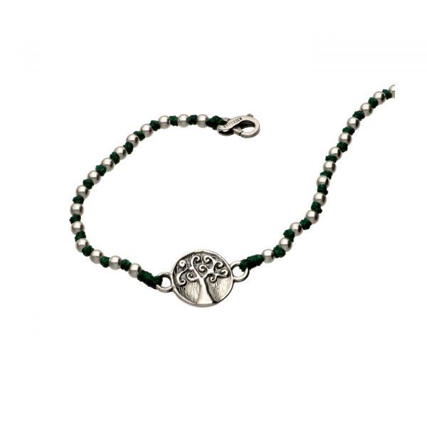 Bracciale con albero della vita centrale in argento e nodini Spadarella