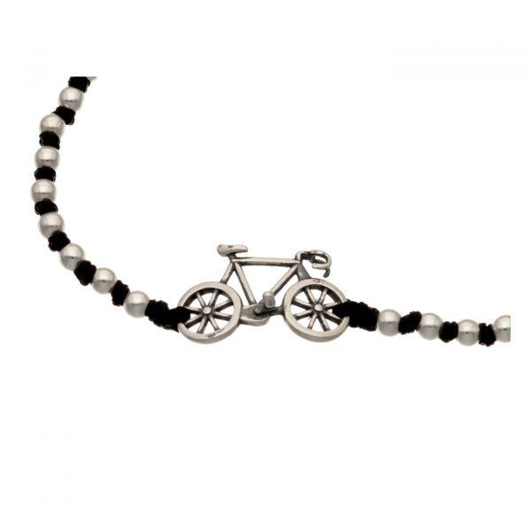 Bracciale con bicicletta centrale in argento e nodini Spadarella