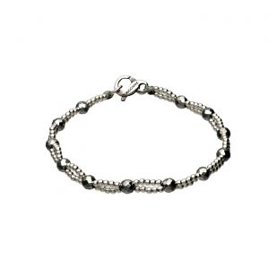 Bracciale con Ematite chiara e palline in argento Spadarella