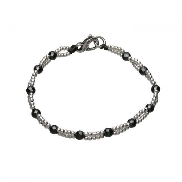 Bracciale con Ematite scura e palline in argento Spadarella
