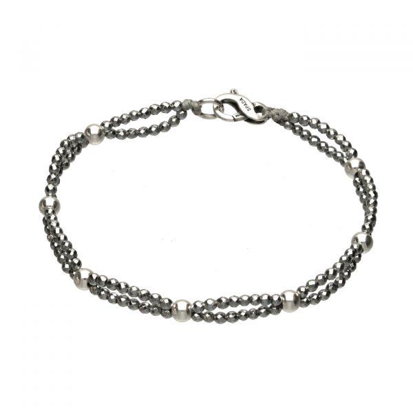 Bracciale con palline in argento ed Ematite chiara Spadarella