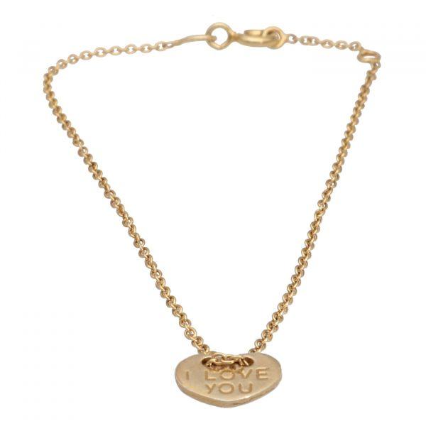 Bracciale in argento dorato con ciondolo a cuore Spadarella