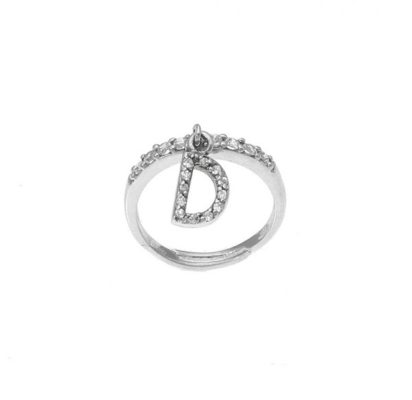 """Anello in argento con lettera """"D"""" pendente a zirconi bianchi"""