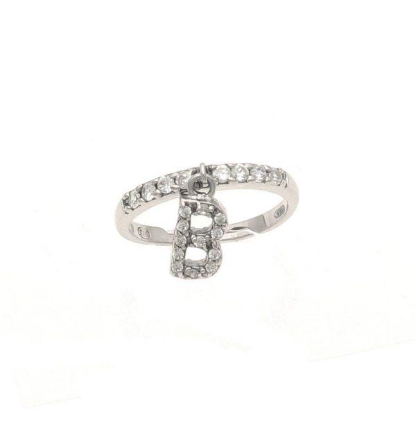 Anello in argento con lettera B pendente a zirconi bianchi