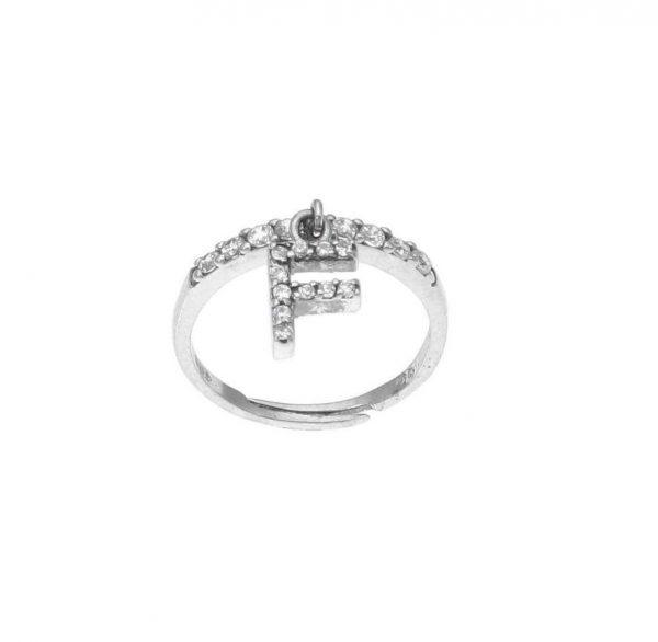 """Anello in argento con lettera """"F"""" pendente a zirconi bianchi"""