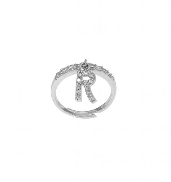 """Anello in argento con lettera """"R"""" pendente a zirconi bianchi"""