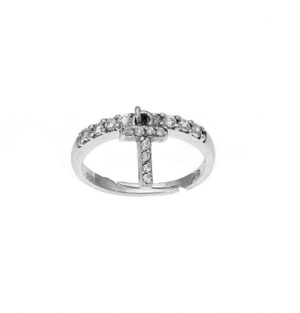 """Anello in argento con lettera """"T"""" pendente a zirconi bianchi"""