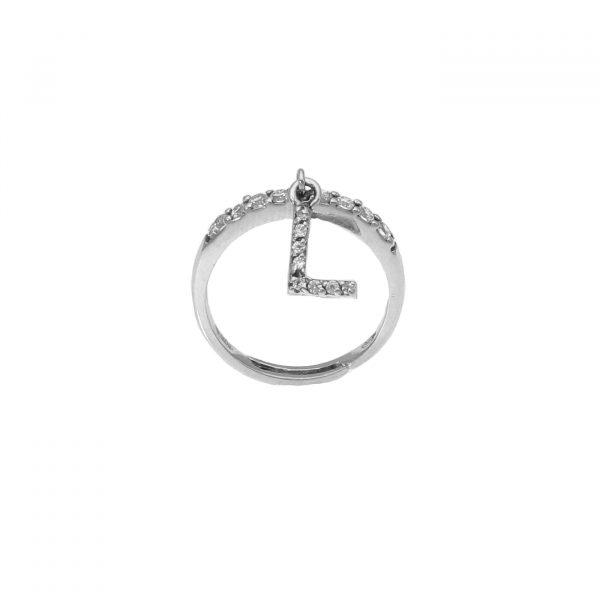 """Anello in argento con lettera """"L"""" pendente a zirconi bianchi"""