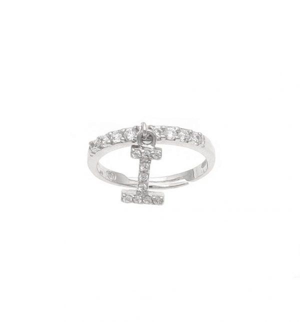 Anello in argento con lettera I pendente a zirconi bianchi