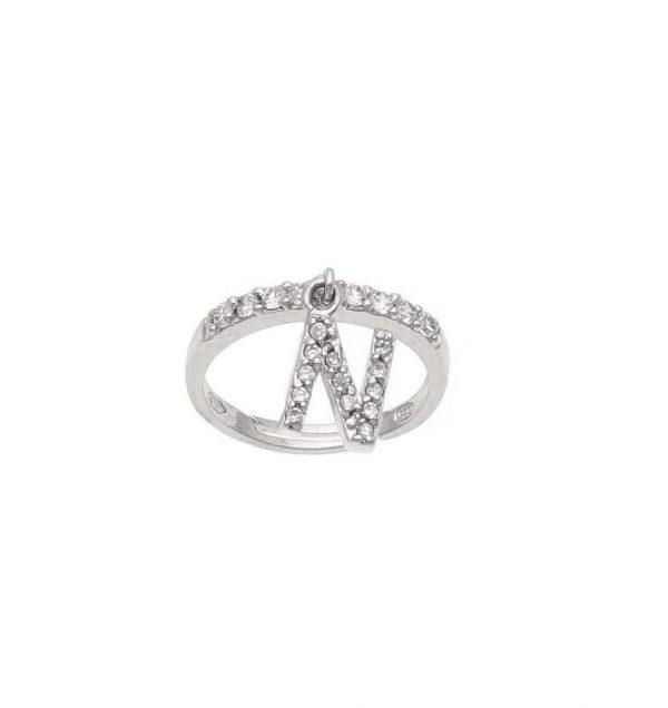 Anello in argento con lettera N pendente a zirconi bianchi