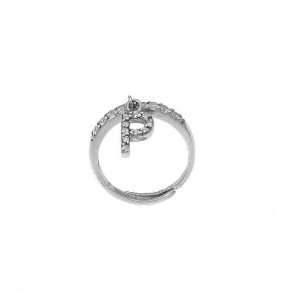 """Anello in argento con lettera """"P"""" pendente a zirconi bianchi"""