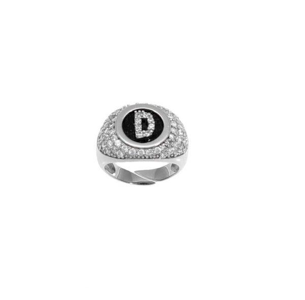 """Anello in argento con lettera """"D"""" in zirconi bianchi su onice"""