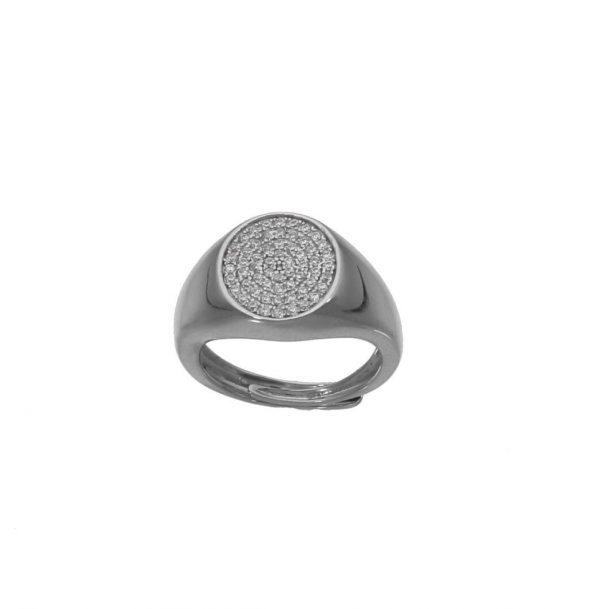 Anello da mignolo in argento con pavè di zirconi centrali