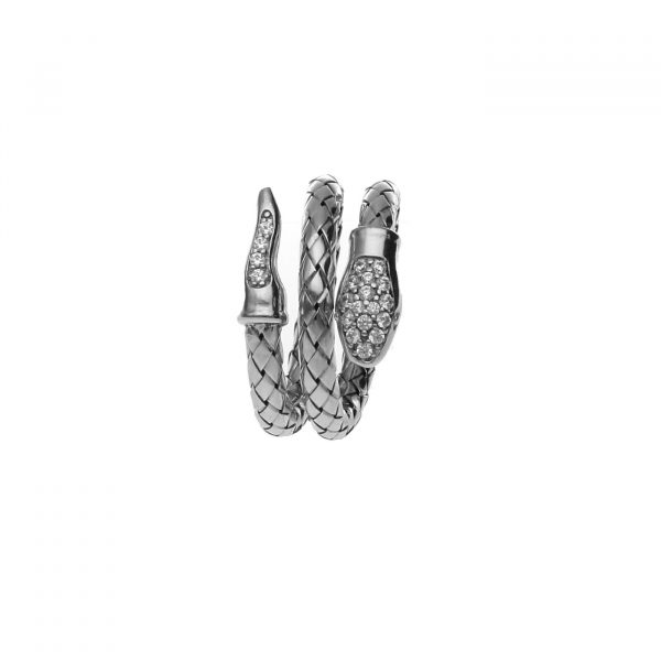 Anello a serpente in argento e zirconi