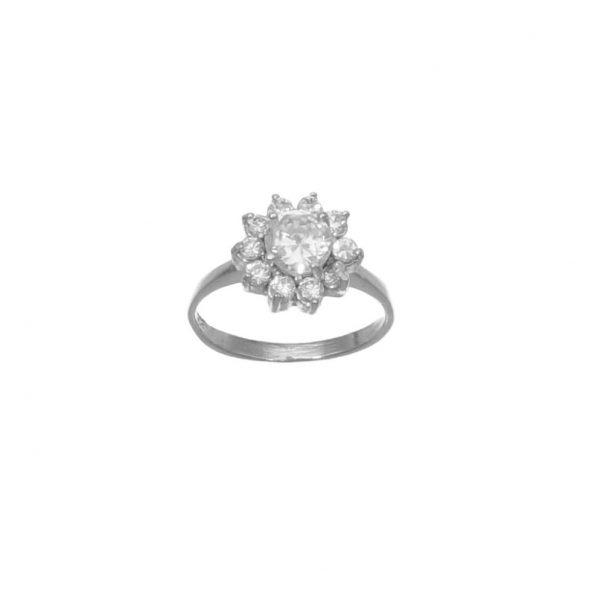Anello in argento tipo solitario con fiore di zirconi bianchi