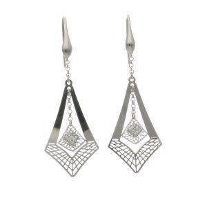 Orecchini pendenti in argento con zirconi