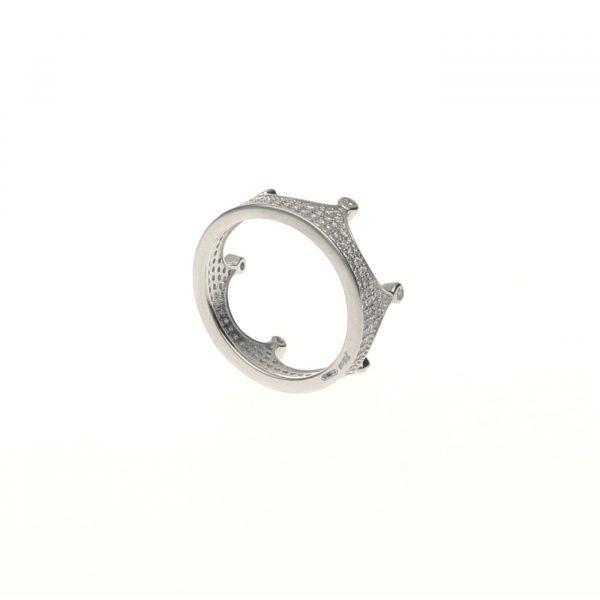 Anello a forma di corona in argento con pavè di zirconi