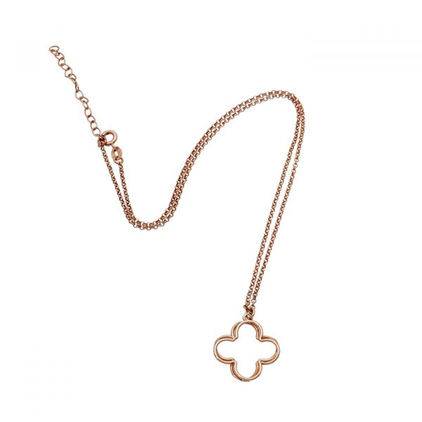 Collana in argento rosato con ciondolo a forma di quadrifoglio
