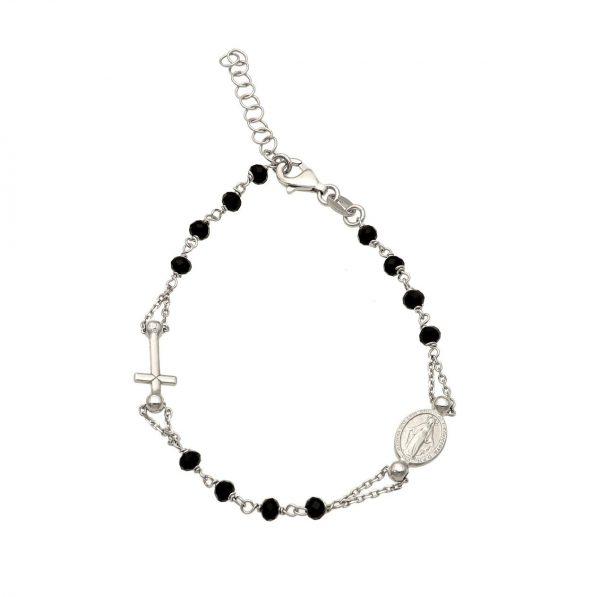 Bracciale rosario argento con croce e medaglietta