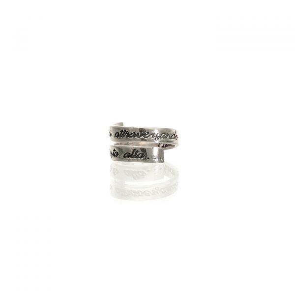 Anello a spirale in argento con frase di Churchill - Spadarella