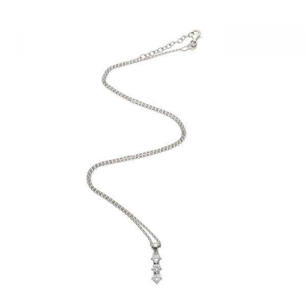 Collana in argento stile Trilogy con zirconi pendenti