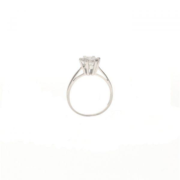 Anello Solitario in argento a 6 punte con zircone