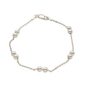 Bracciale a catenella con coppie di sferette in argento