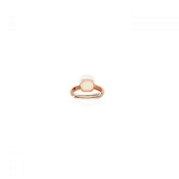 Anello in argento rosato con tormalina bianca tipo Pomellato