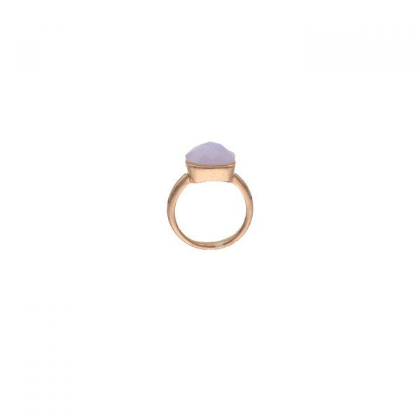 Anello in argento rosato con tormalina rosa tipo Pomellato