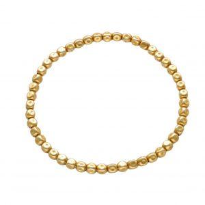 Bracciale ad elastico in argento bagnato nell'oro con pepite schiacciate