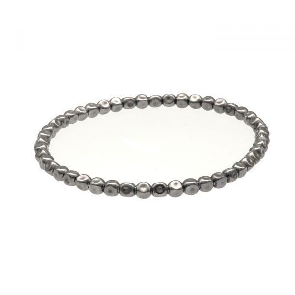 Bracciale ad elastico in argento bagnato nell'oro nero con pepite schiacciate