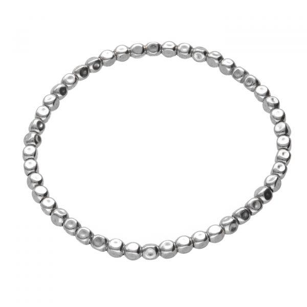 Bracciale in argento ad elastico con pepite schiacciate