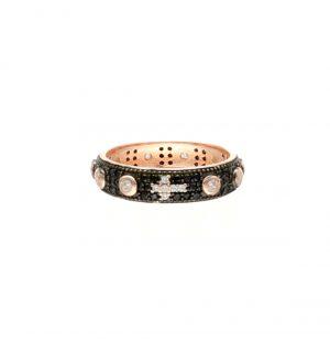 Anello a rosario in argento rosato e zirconi - 1One