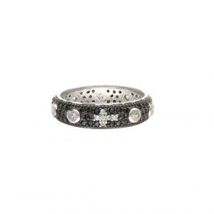 Anello a rosario in argento e zirconi - 1One