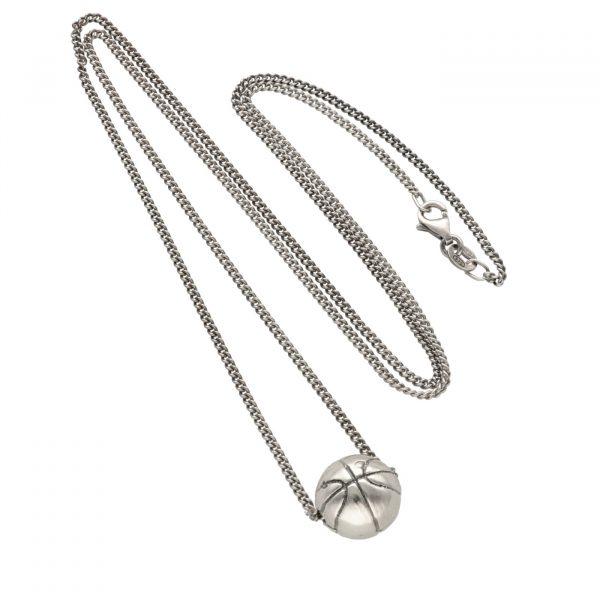 Collana in argento con ciondolo a forma di palla da basket - Spadarella