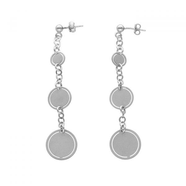 Orecchini pendenti in argento con piastrine a cerchio