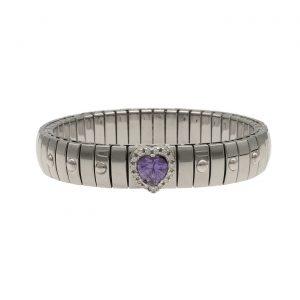 Bracciale ad elastico in acciaio pietra a cuore viola centrale contornata da Swarovski con montatura e dettagli laterali in argento, prodotto artigianalmente in Italia da Zoppini.